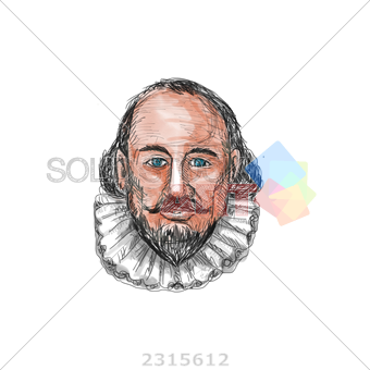 clip art royalty free stock Stock Photo of Watercolor render william shakespeare head on