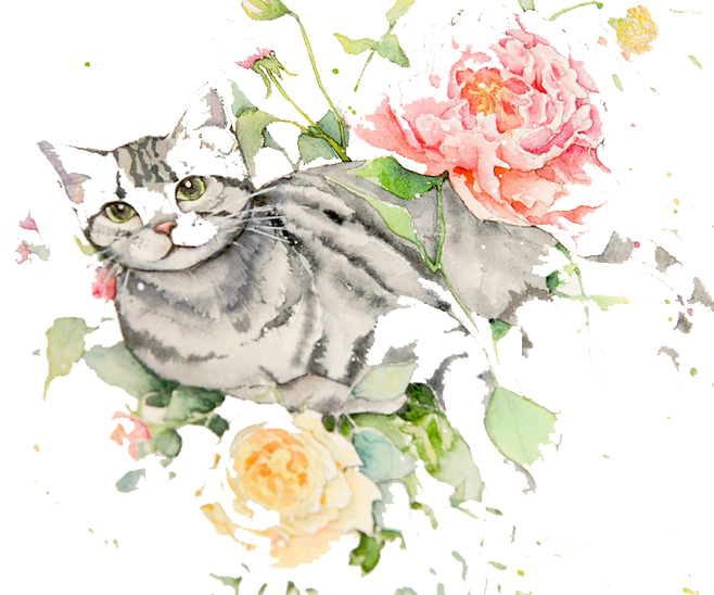 clip library Watercolour Flowers Cat Watercolor painting Drawing