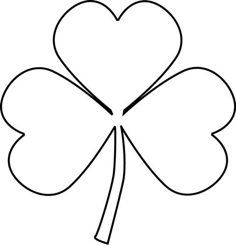 graphic royalty free library . Shamrock clipart black and white