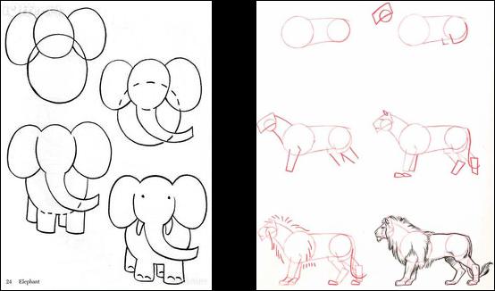 jpg black and white stock Basic Shape Animal Drawings