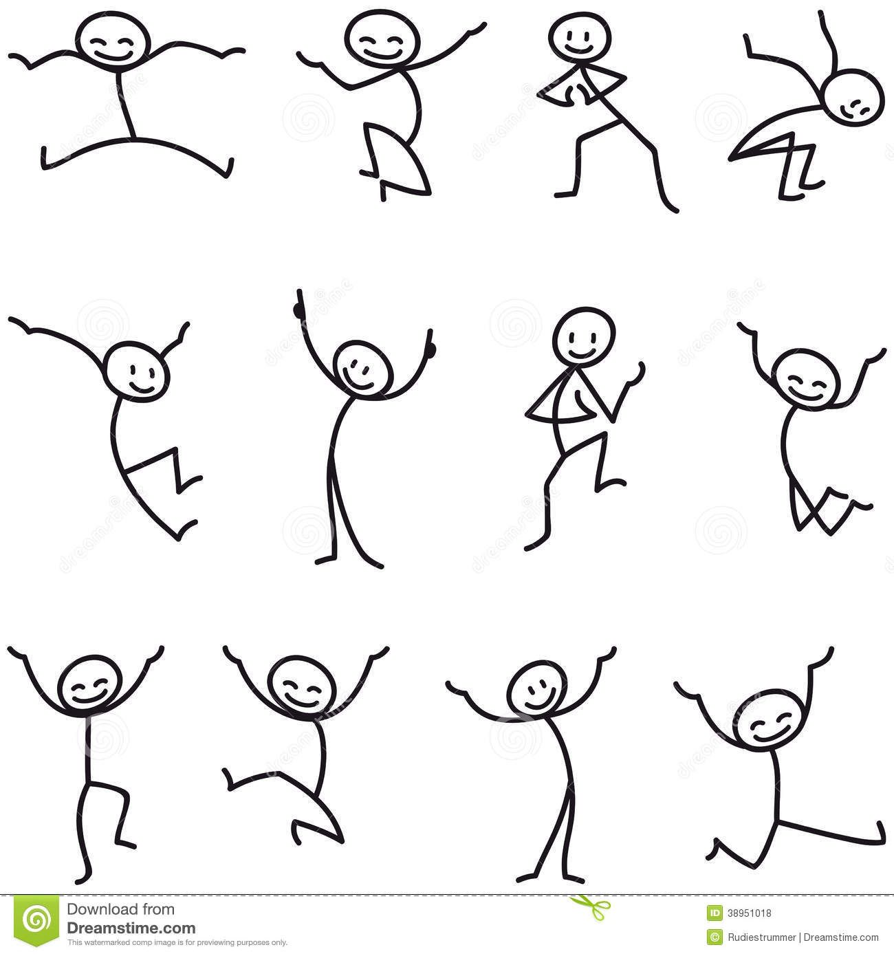 graphic black and white Man figure happy jumping. Drawing stick easy