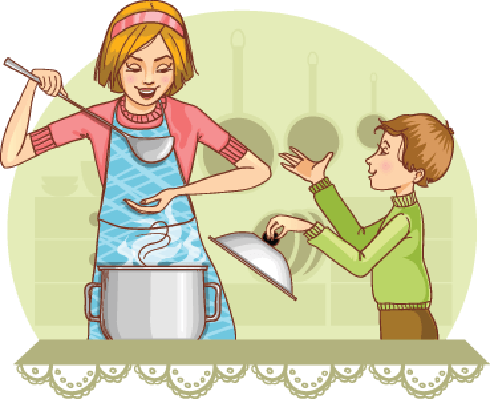 banner library Mother and son tests. Clipart kitchen