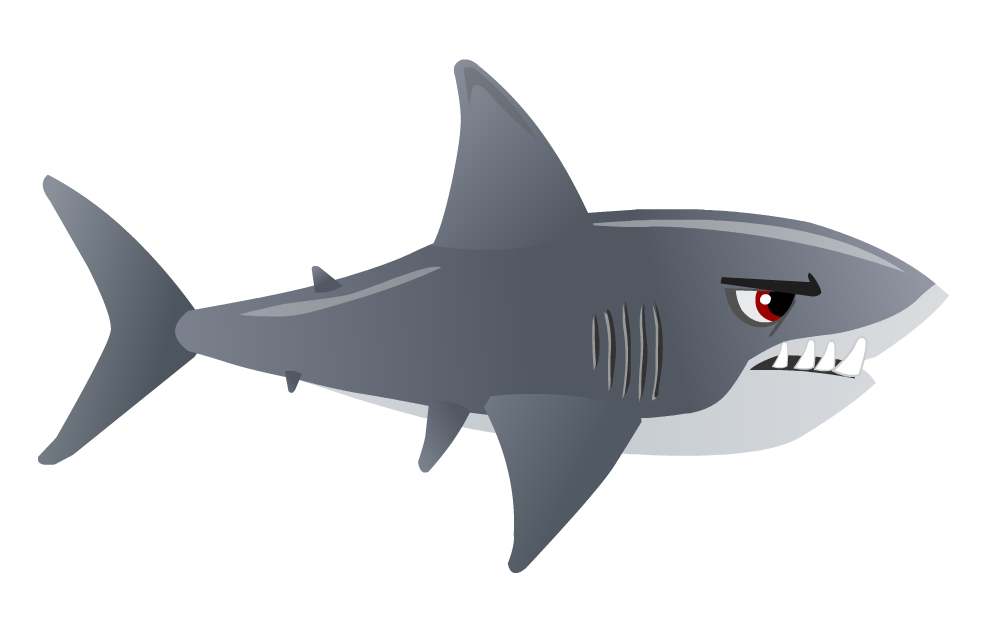 black and white stock Mermaid Tail Clipart shark