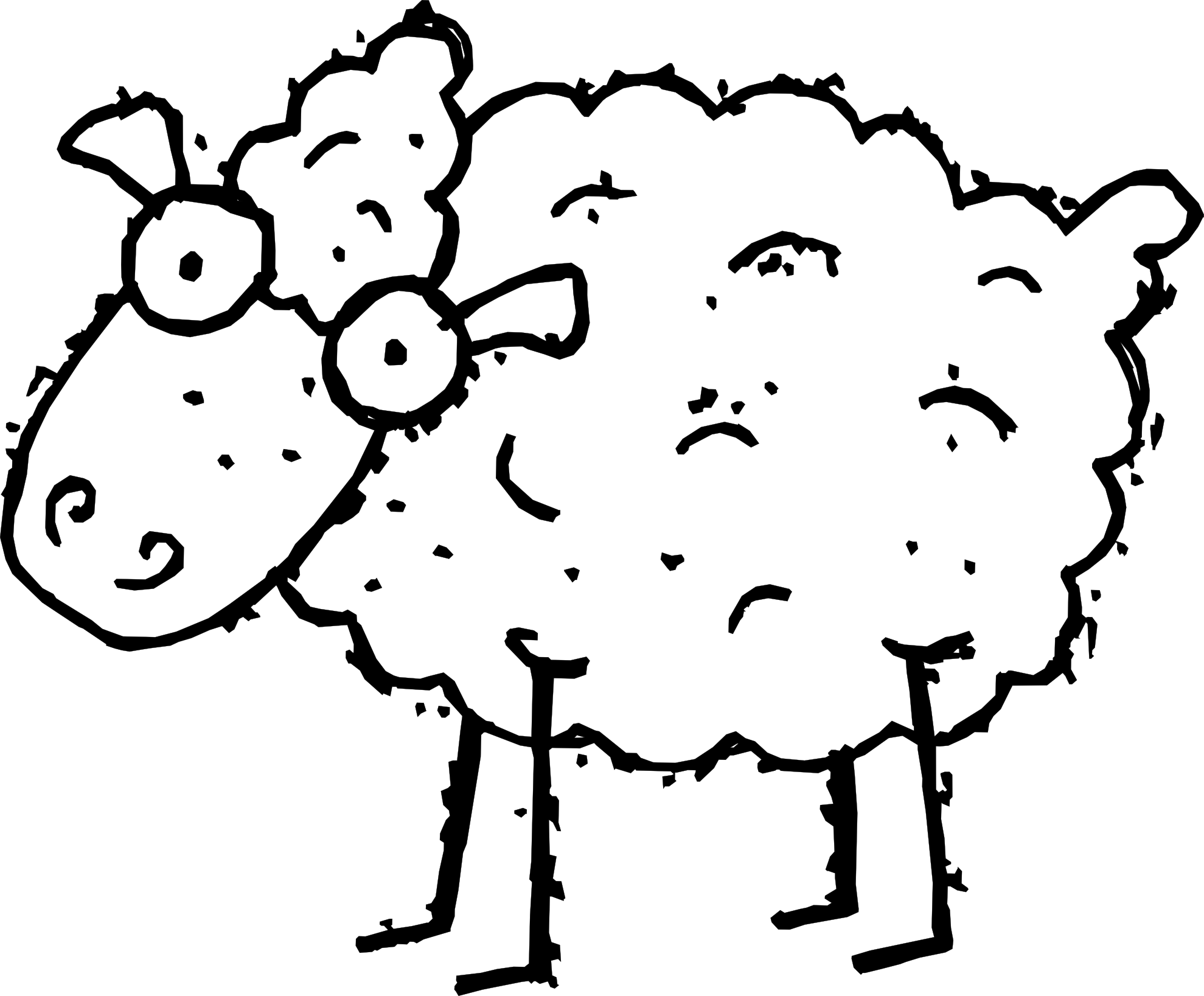vector free Lamb Clipart Black And White