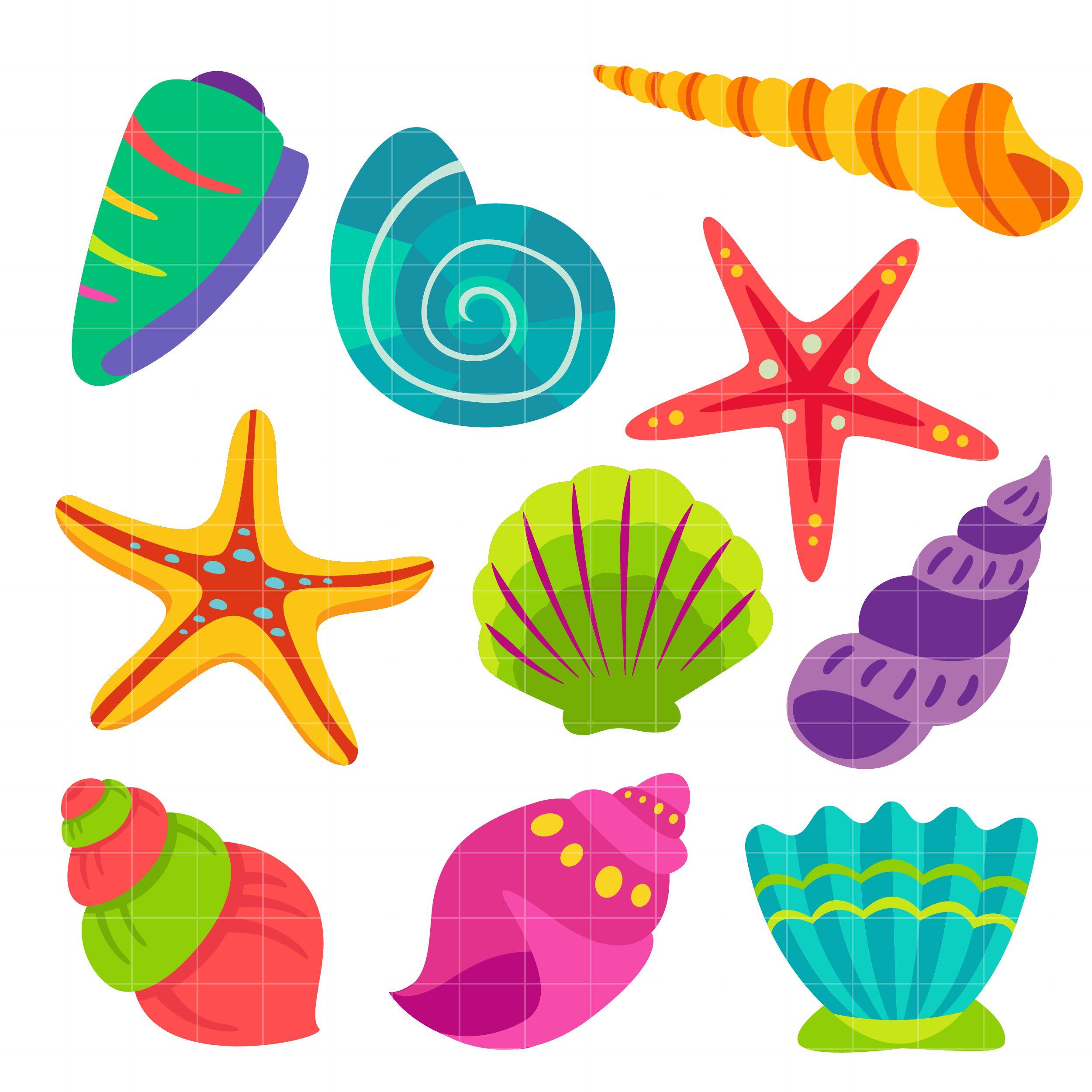 clip black and white Shells clipart. Colorful seashells set semi