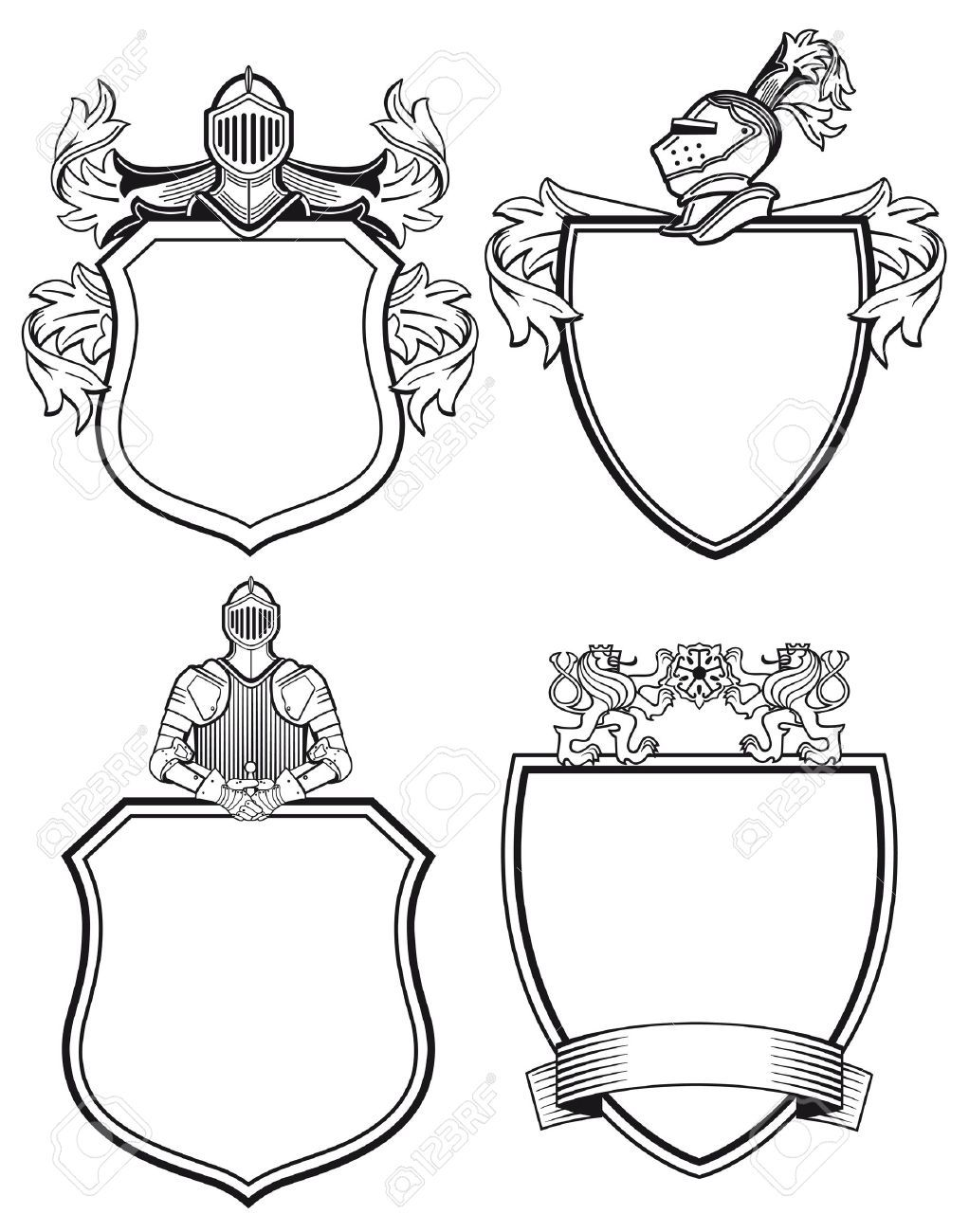 svg freeuse library Stock shield tattoo coat. Vector crest knight