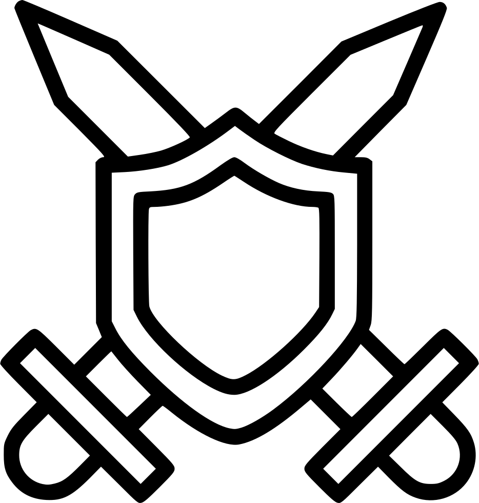 graphic black and white Swords Crossed Shield Svg Png Icon Free Download
