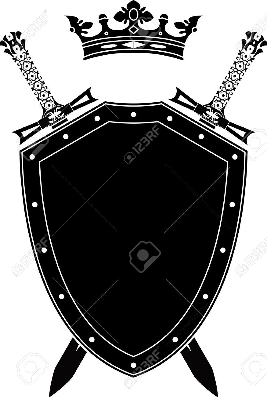 banner black and white Stock black white shield. Vector crest armor