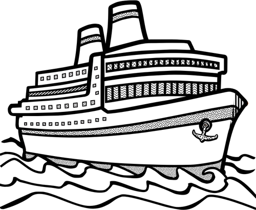 clip stock Cruise black and white. Ship clipart