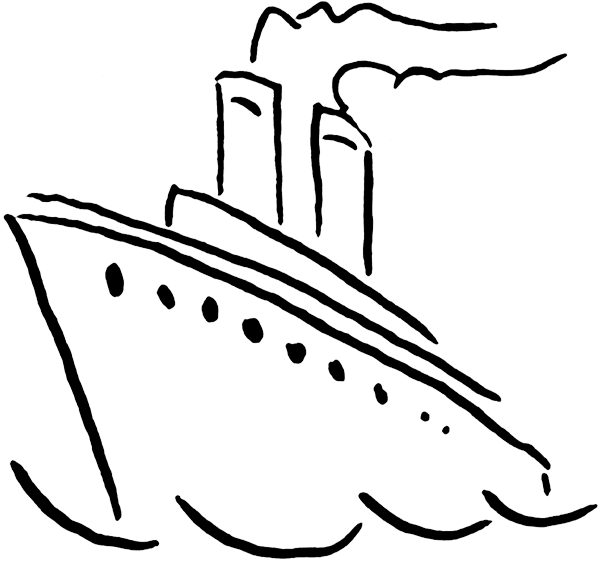 graphic freeuse stock Clip art black and. Yacht clipart cruise ship