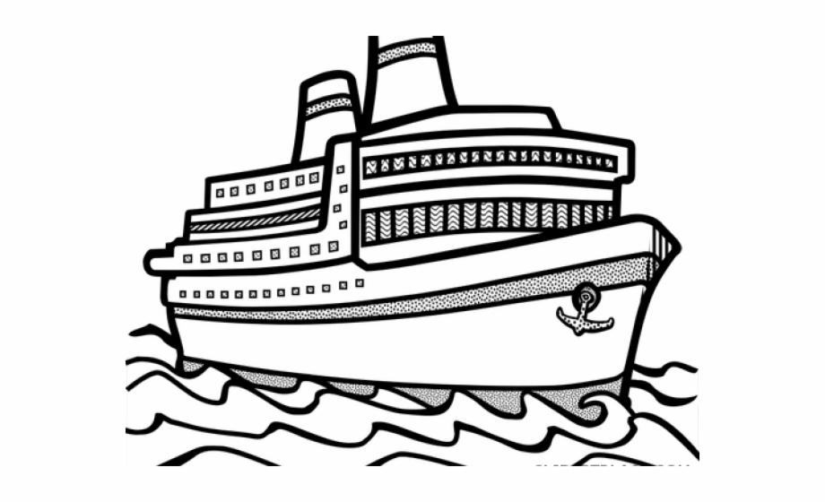 clipart free Ship clipart black and white. Cruise outline