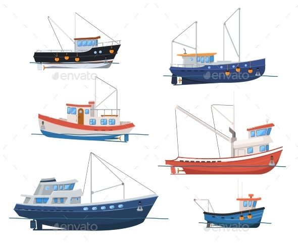 clip art freeuse library Boats side view isolated. Vector boat fishing vessel