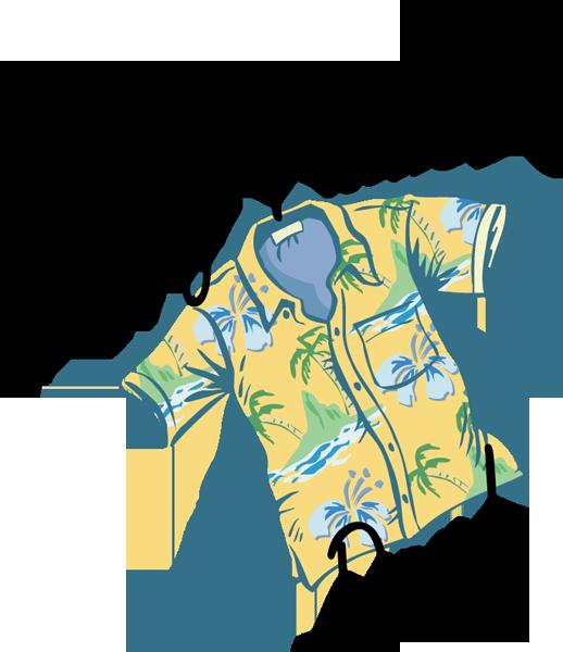 black and white Hawaiian Shirt Clip Art