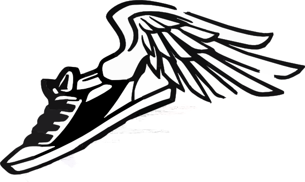 jpg royalty free download Cross country arrow clipart. Running shoe with wings.