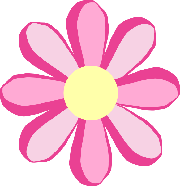 banner black and white download Cute Pink Flower Clipart