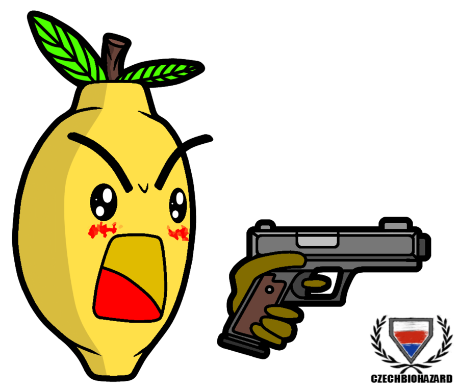 banner black and white library Lemon Chibi with a gun