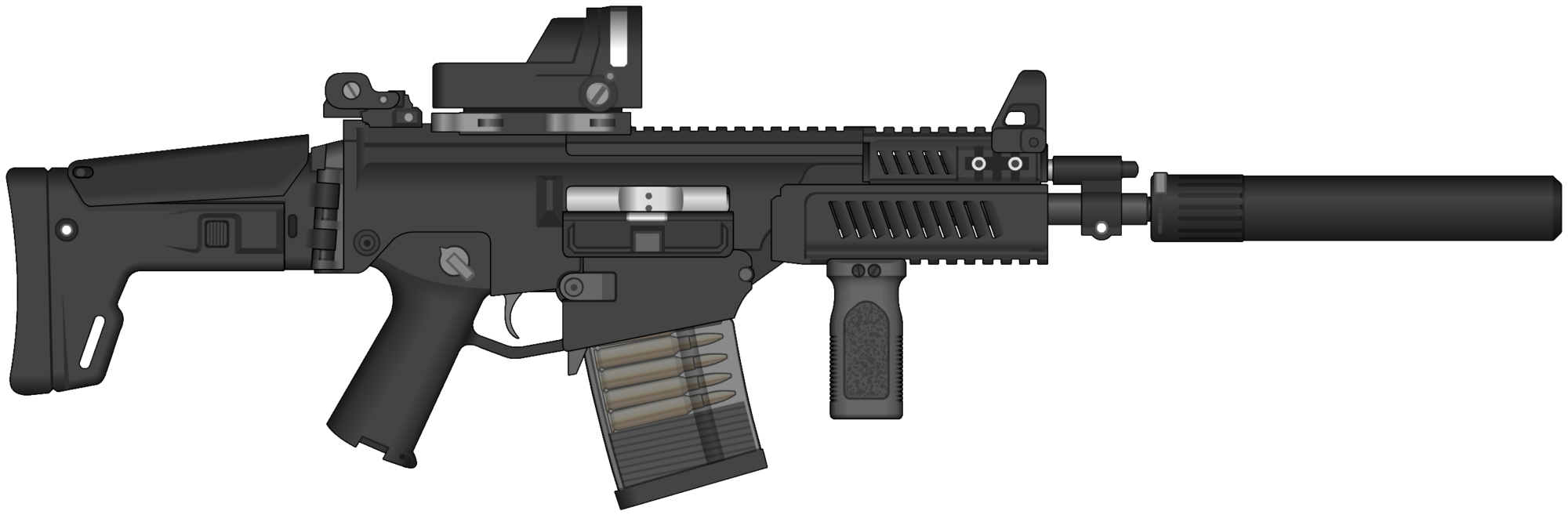 jpg black and white stock Mk assault rifle png. Vector 10mm gen