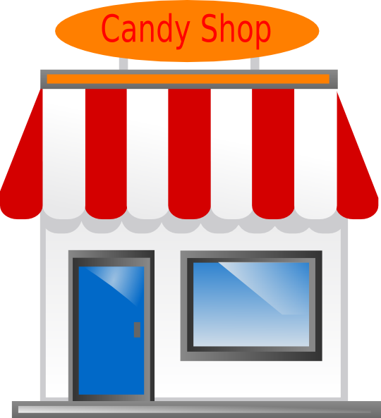 graphic black and white stock Supermarket clipart grocery story. Candy shop front scarecrow.