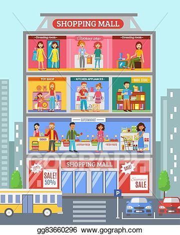 image Eps illustration center desingn. Supermarket clipart shopping centre