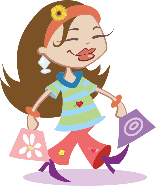 clipart freeuse stock Supermarket clipart kid. Happy shopping girl medium