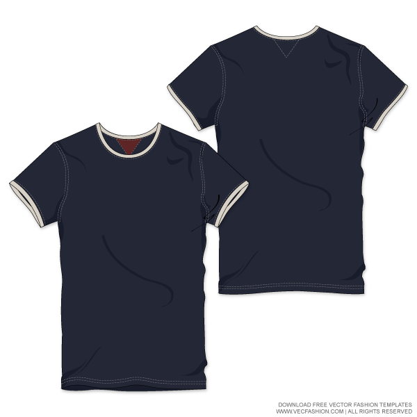 svg transparent download Men Roundneck Ringer Tee Vector Template