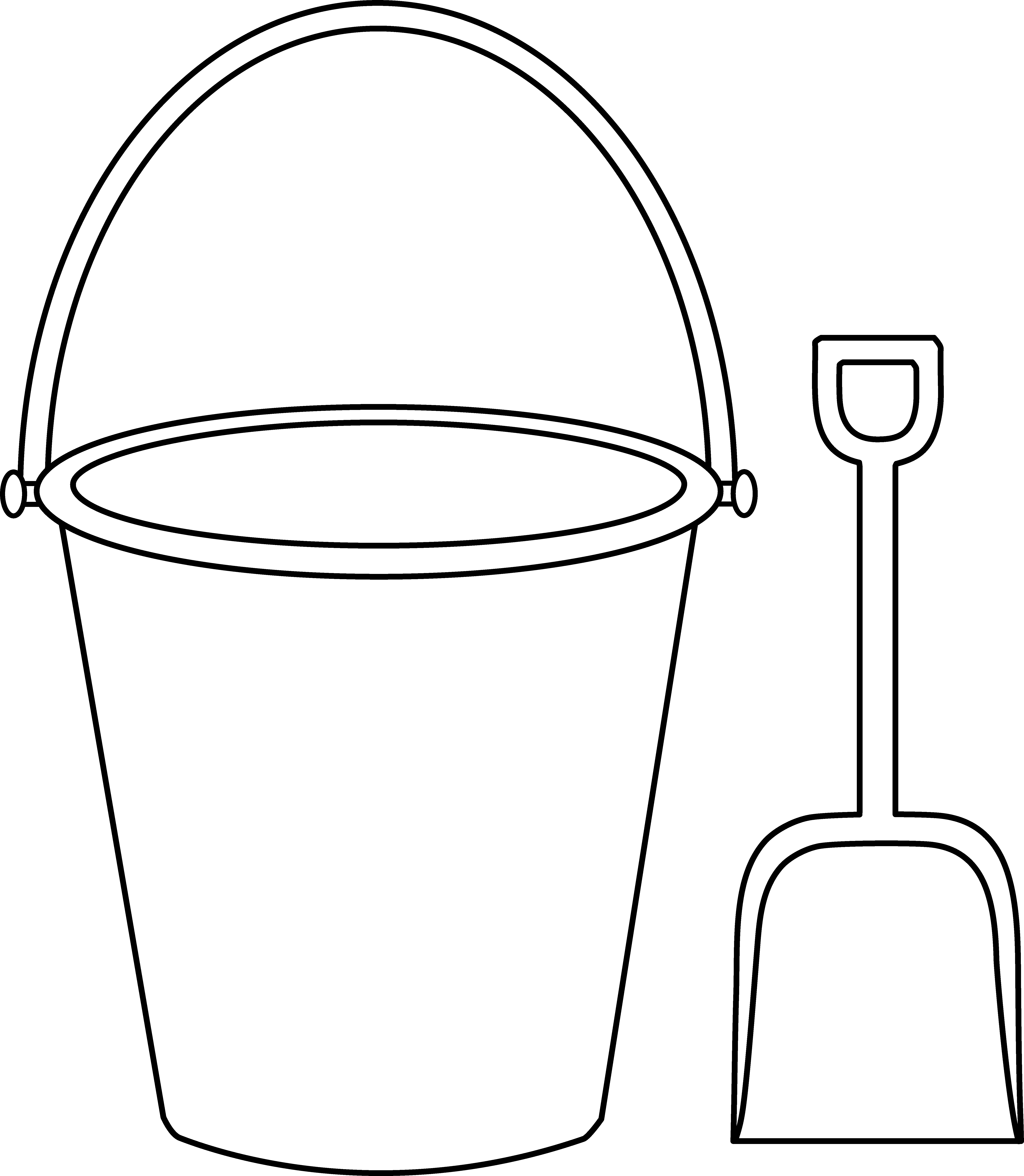 png library library Bucket and Shovel Outline