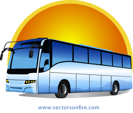 jpg free stock Free Tour Bus at Sunrise by Mihai Ionascu Clipart and Vector