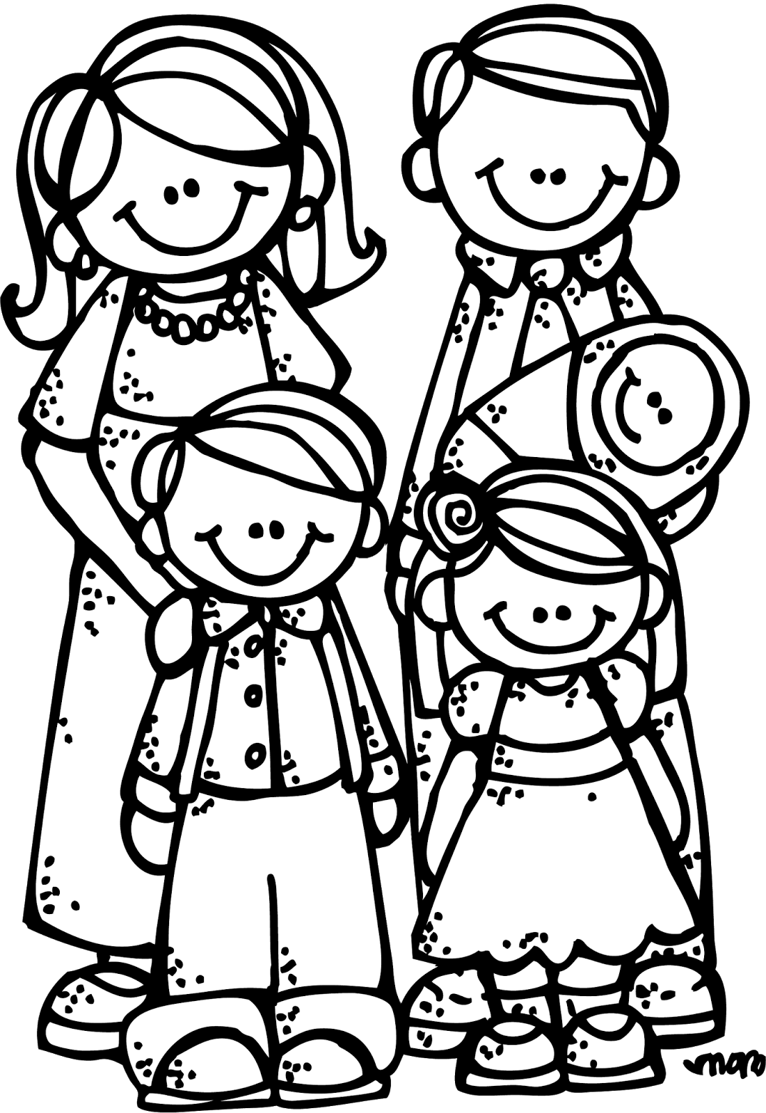 stock Png black and white. Siblings clipart.