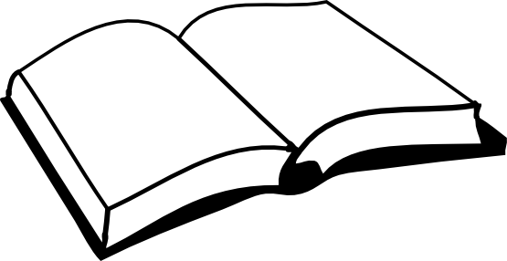 jpg transparent library Open book line art. Books svg black and white