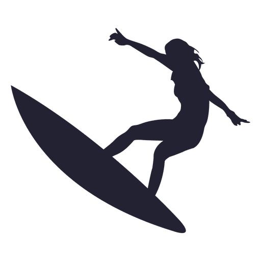 vector black and white library Girl surfing jump silhouette