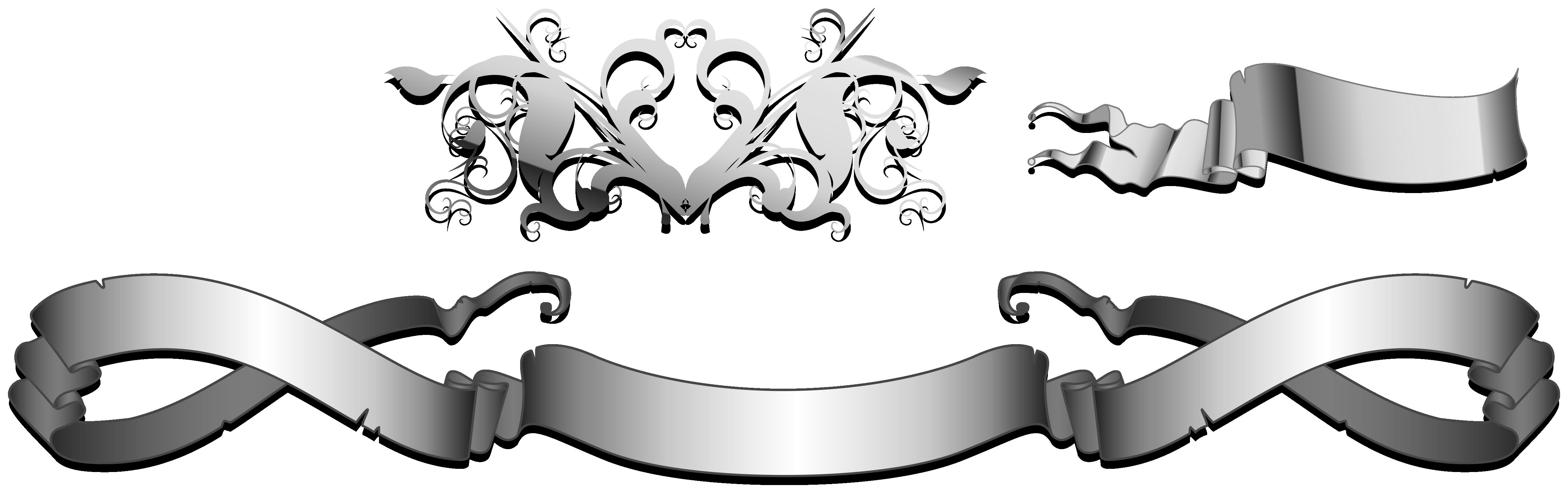 image Silver Ribbon Banner Vector