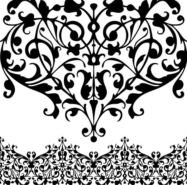 png black and white stock Simple lace patterns clipart. Clip art library .
