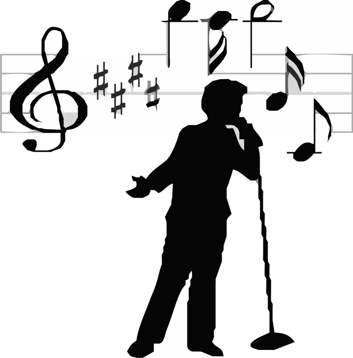 freeuse Sing clipart black and white. Singing voice free on