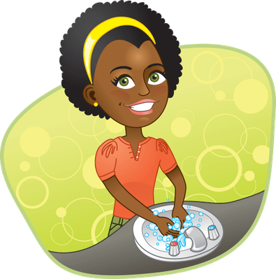 clipart free library Sink clipart. Girl washing her hands