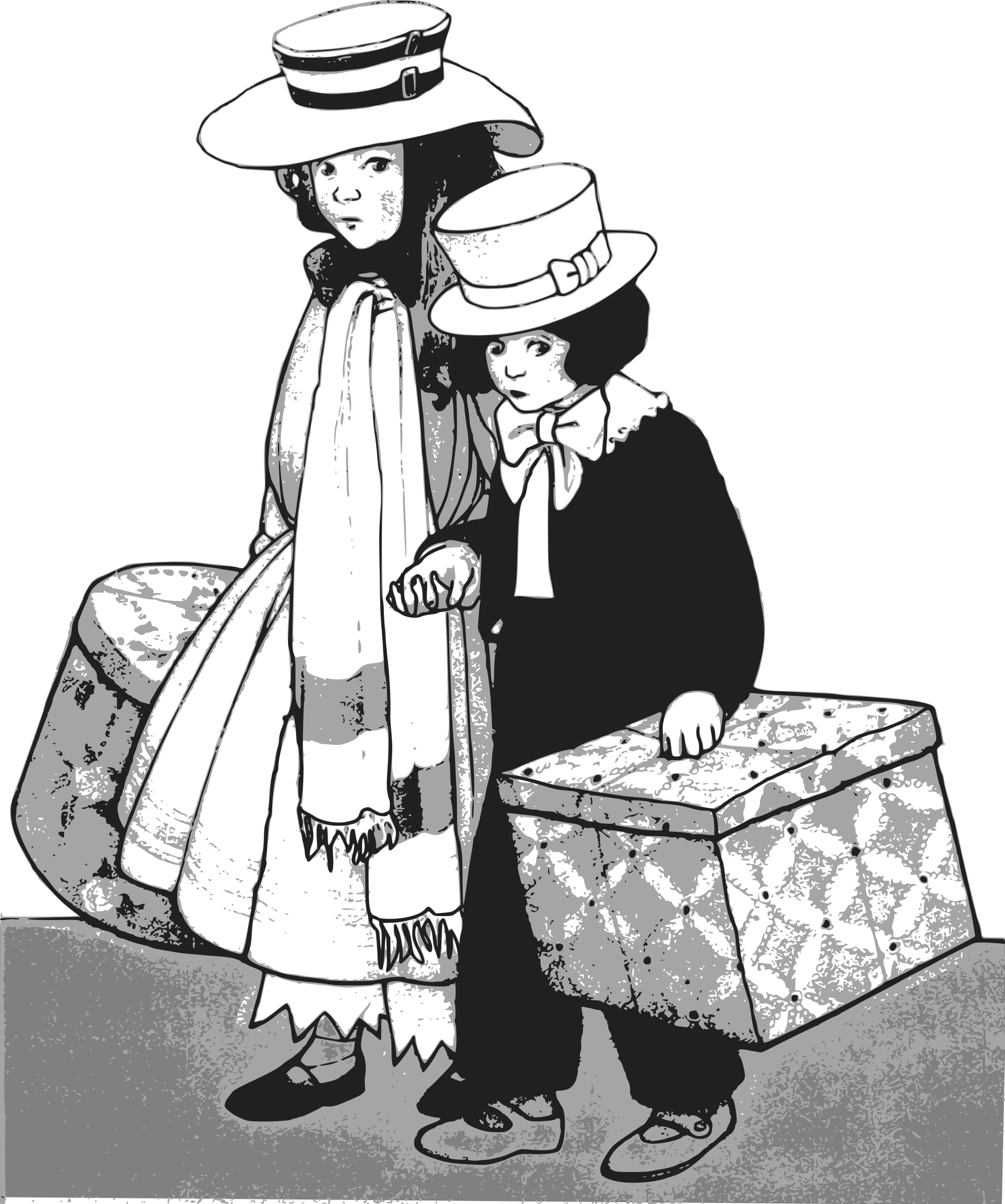 clip royalty free library Sisters clipart black and white. Brother sister traveling big