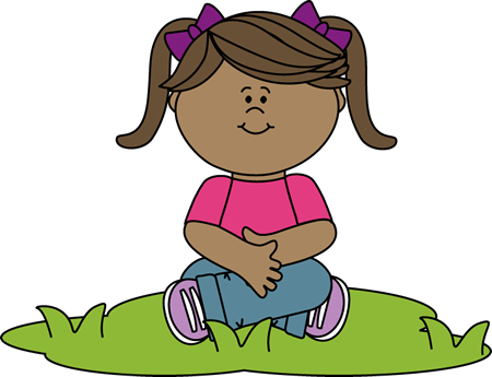 banner free library Kid Sitting in Grass Clip Art
