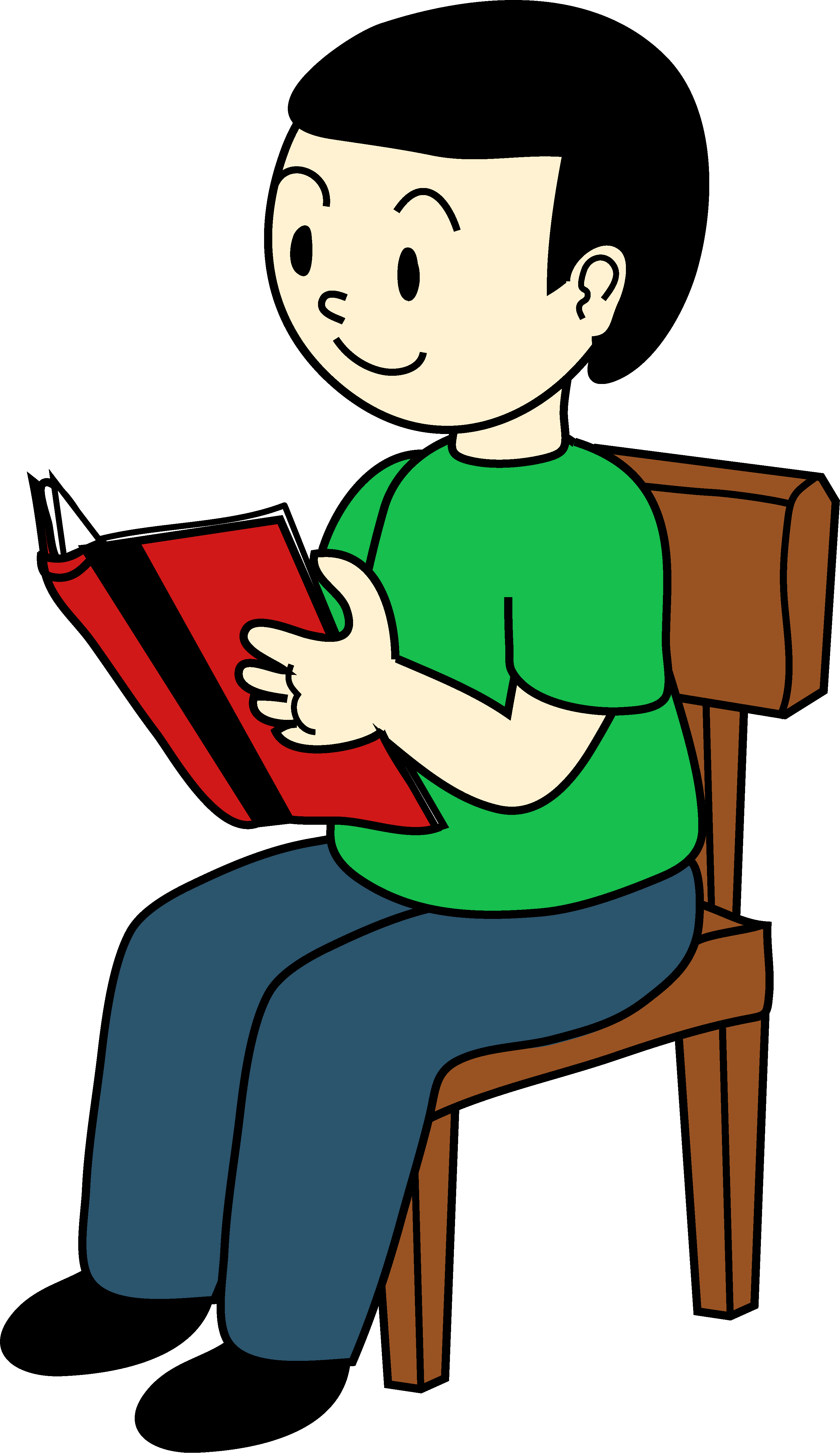 svg royalty free stock Kids sitting clipart. Boy on chair reading
