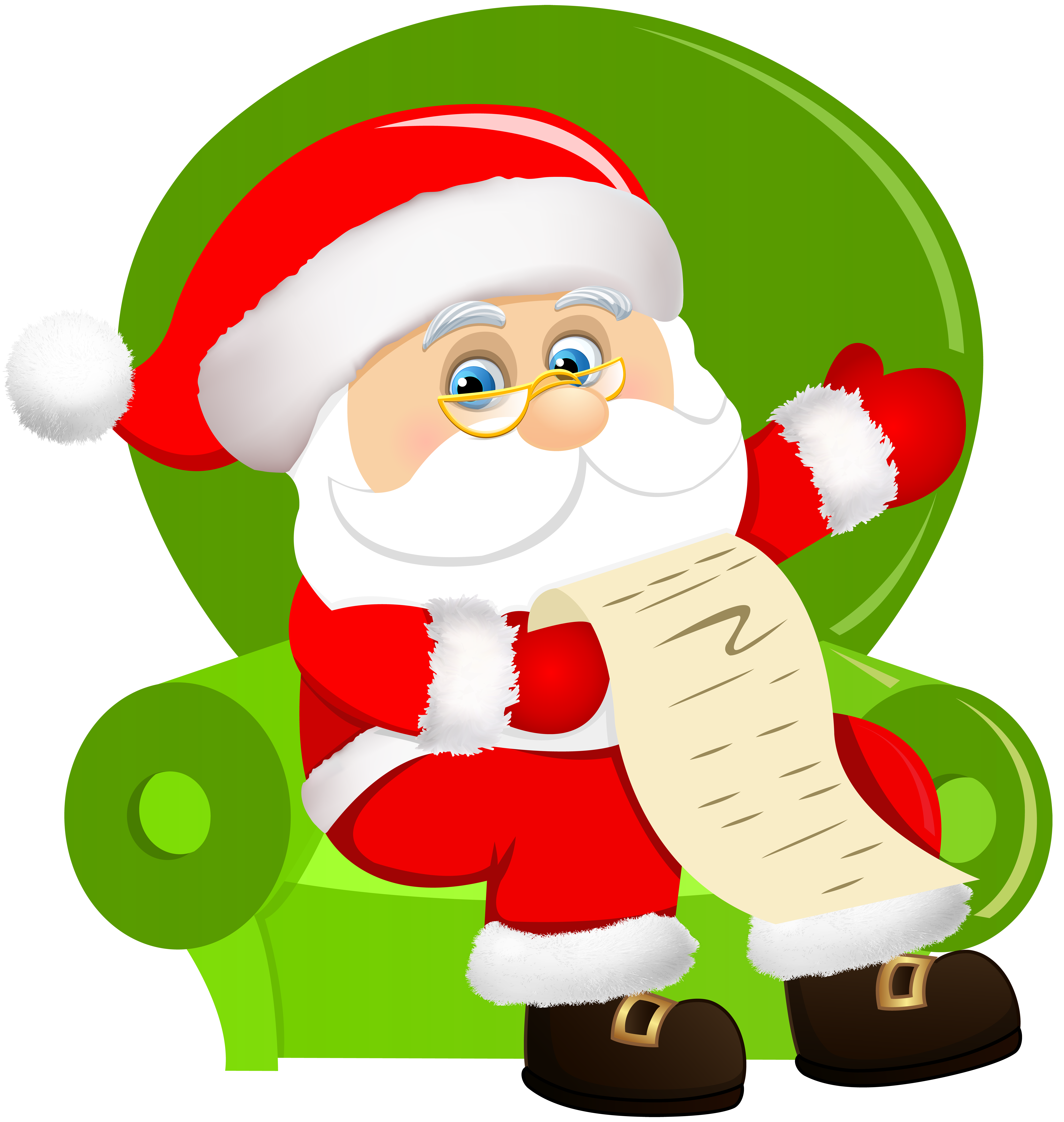 banner black and white library Santa claus on chair. Sitting clipart