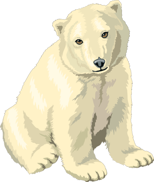 clipart black and white library Sitting polar bear clipart. Cub clip art at