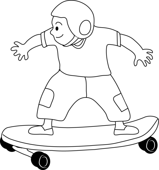 clipart library library Skateboarding Kid Coloring Page