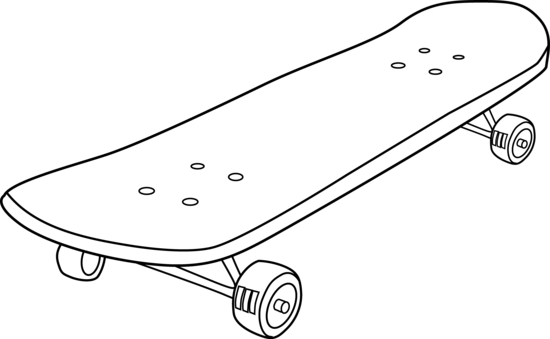 graphic transparent stock Skateboard Black And White Clipart