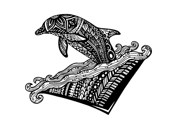 image black and white stock Playful Dolphin Zentangle Carry