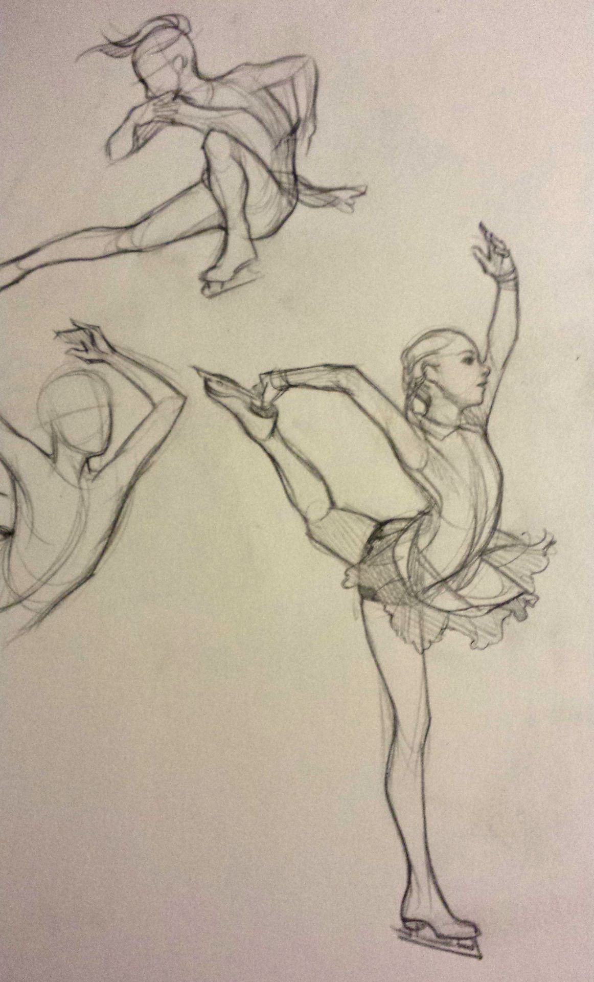 clip freeuse library figure skater sketch