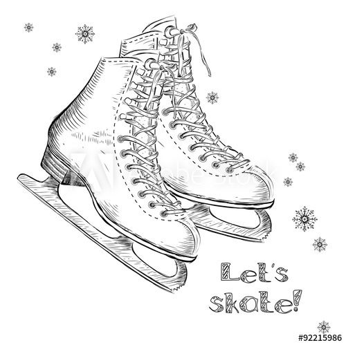 image Winter holidays card with ice skates cartoon sketch