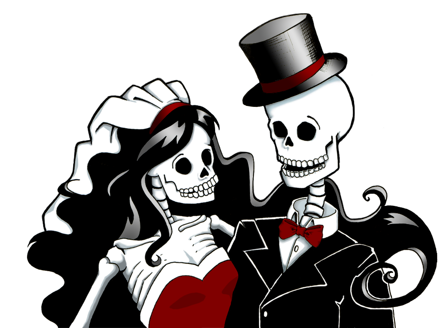 freeuse library skeleton bride and groom clipart #60067296