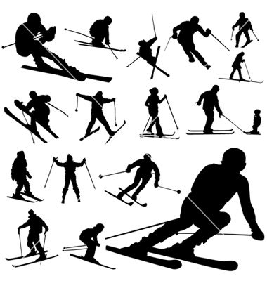 clip art Silhouettes cyclefit job skiing. Ski vector.