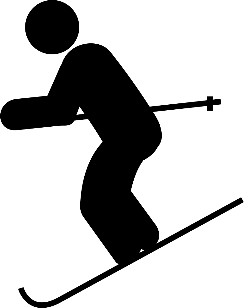 banner black and white library Skis clipart ski hill. Skiing down svg png