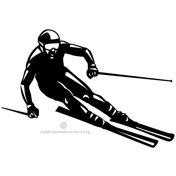 clipart freeuse stock Ski vector. Skier silhouette image cameo.