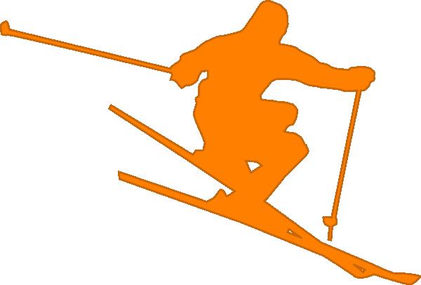 image free library Skis clipart ski hill. Orange skier clip art