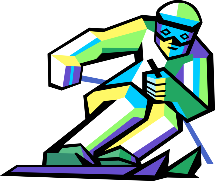 vector free Alpine skier races down. Skis clipart ski hill